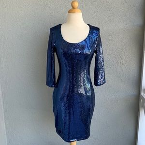 H&M Navy Blue Sequin Dress Size S
